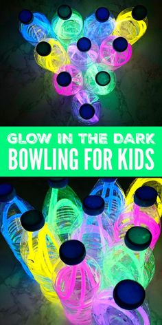 Glow in the Dark Bowling made from used water bottles and glow in the dark necklaces. A fun and easy indoor activity for kids that will make the evening loads of fun! Indoor Games For Kids, Birthday Activities, Outdoor Activities For Kids, Games For Toddlers, Summer Activities For Kids, Summer Kids, Toddler Activities, Diy For Kids, Fun Activities