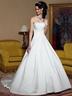 A-line Strapless Empire Chapel Train Satin Wedding Dresses