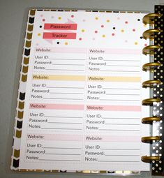 Planner Password tracker Insert The Happy by NicoleKellyCreations