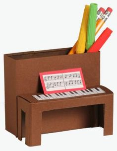 Piano Pencil Holder Craft from Highlights ~ this would be a cute gift to the piano teacher.