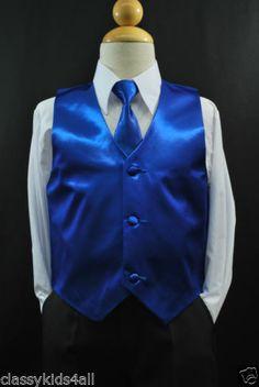 2pc Set Royal Blue VEST + NECK TIE for Toddler & Boy's Suit Tuxedo Sz 2T-14 R1