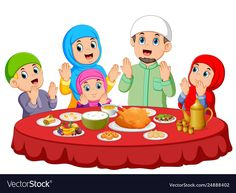 Are praying for eat food on ied mubarak vector image on VectorStock Family Picture Cartoon, Poster Ramadhan, Visual Perception Activities, Ramadan Poster, Ramadan Cards, Muslim Pray, Ramadan Lantern, Islamic Cartoon, Bag Illustration