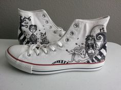 Tim Burton themed Nightmare Before Christmas, Corpse Bride, Beetlejuice, Alice in Wonderland, Frankenweenie shoes ARTWORK and SHOES INCLUDED by BRINKADINK on Etsy https://www.etsy.com/listing/210322298/tim-burton-themed-nightmare-before