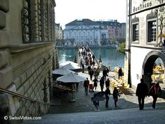 Lucerne TRAVEL GUIDE-- town hall to the left and the Pfister Guild house to the right