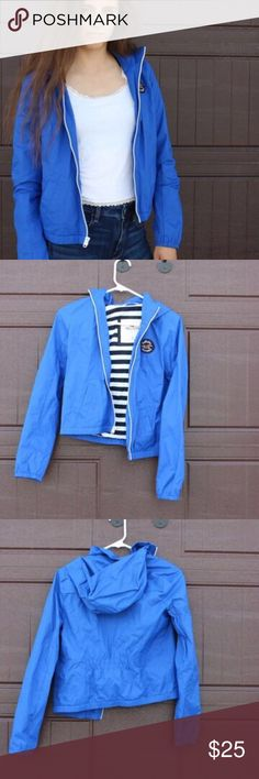 Light rain jacket from Hollister Pretty blue nice for brisk days like new! Hollister Jackets & Coats