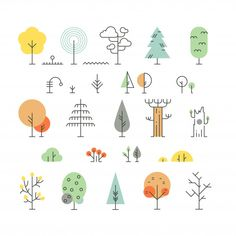 Forest trees line icons with simple geometric shapes Premium Vector Cherry Blossom Background, Pink And White Background, Geometric Trees, Geometric Shapes, Simple Geometric Designs, Doodle Drawing, Doodle Art, Tatoo Tree, Tree Icon