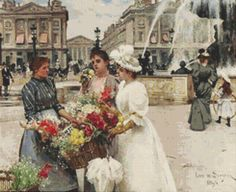 Flower Seller At The Place De La Concorde by Avalon Cross Stitch on Etsy
