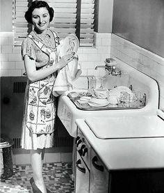 Doing dishes in her stilettos always made Fran feel glamorous