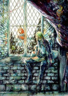 Howl's Moving Castle: Howl & Calcifer by http://www.pixiv.net/member_illust.php?mode=medium&illust_id=19715835