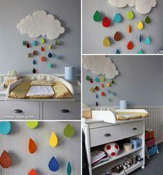 Felt clouds wall art