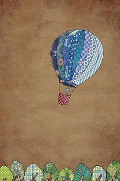 Blue hot air balloon Art Print
