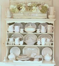 Love the bead-board box on top of the hutch.  I could make that! Common Ground: Repurposing a Cupboard