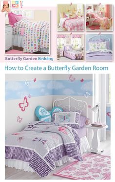 Girls Rooms: Article on how to create a butterfly garden theme kids bedroom