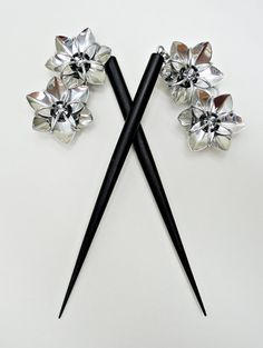Pair of Black Six Inch Wooden Hair Sticks with by lanzacreations