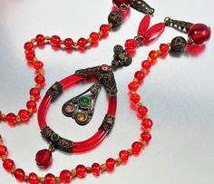Vintage Rhinestone Czech Glass Art Deco Necklace Red Heart Necklace Antique Jewelry Art Deco Jewelry