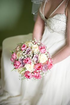 Pink and ivory bouquet. Photography by www.mmphotographyscotland.com