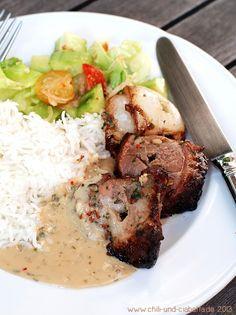 Chili und Ciabatta: Thailändischer Schweinefleisch-Spieß mit Erdnuss-Sauce