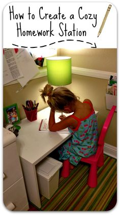 Station Ideas for Kids Our Homework Space - create a cozy spot for kids to work.Our Homework Space - create a cozy spot for kids to work. Kid Spaces, Space Kids, Work Spaces, Kids Homework Space, Kids Homework Station, Homework Desk, Kids Corner, Corner Desk, Little Girl Rooms
