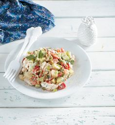 salata me kotopoulo Yami Yami, Greek Cooking, Vegetable Salad, Greek Recipes, Love Food, Risotto, Potato Salad, Food Processor Recipes, Salads