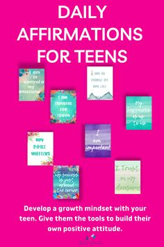 A fab pack of printable daily affirmations to help your teen stay motivated and keep that positive attitude. Simple words of positivity that your child can use every day to work on their own mental health. So often neglected as they are working towards academic achievement. As parents we know that their emotional and mental wellbeing is even more important. These cards are simple to use but will help them develop their own wellbing skills. #emotional #wellbeing Mindful Parenting, Parenting Teens, Simple Words, Daily Affirmations, Growth Mindset, Printable Planner, Printables, Best Planners, Positivity