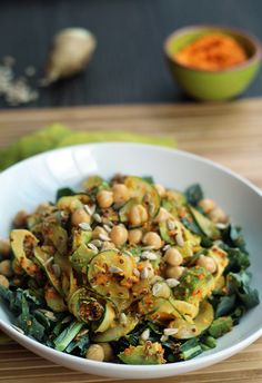 Miso-Ginger Carrot Cucumber Noodles with Kale, Chickpeas, Sunflower Seeds, Quinoa and Avocado