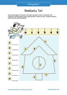 lembar belajar anak kelas 2 SD, latihan konsep menggunakan penggaris, mengukur panjang rumah burung