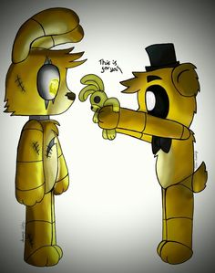 """I look at golden freddy.""""t-thanks?""""(im springtrap be goldie! (Other animateonics,and ocs aloud!))"""