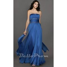 Blue Beaded Waistline Strapless Prom Gowns A4210  Price: $139.00  Buy now enjoy -10% Discount.