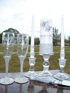 Lots of Bling .....Unity candle Holders by JorgeiaWeddingEvent