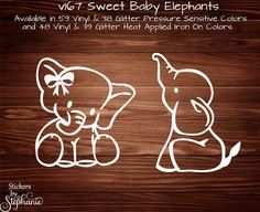 v167 Sweet Baby Boy or Girl Elephant Ellie GLITTER or VINYL Wall Mural Car Sticker Decal Heat Applied Iron On T-Shirt Onesie Transfer
