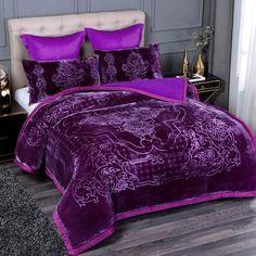 Purple Bedrooms, Girls Bedroom, Bedroom Ideas, Plum Bedroom, Purple Bedroom Design, Purple Bedding Sets, Warm Blankets, My New Room, Luxury Bedding