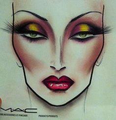 Face chart - High fashion look Mac Makeup, Beauty Makeup, Drugstore Beauty, Makeup Inspo, Makeup Inspiration, Mac Face Charts, Makeup Face Charts, Bridal Makeup Looks, Make Up Art