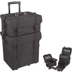 26.5 inch 2 in 1 Black Soft High Quality Nylon Professional Artist Rolling Wheeled Trolley Makeup Train Case Cosmetic Organizer w/Shoulder Straps Travel light or loaded with this multi-purpose and compartment heavy organizational wonder. Numerous pockets and trays and drawers you  Read more http://cosmeticcastle.net/tool-accessories/beauty-cosmetic-128  Visit http://cosmeticcastle.net to read cosmetic reviews