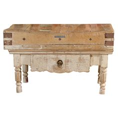 French butcher's block table