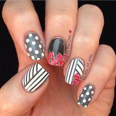 Nails, gray, white, black, stripes, polka dots, roses, nail art