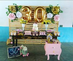 30th Birthday Decorations, 18th Birthday Party, Birthday Woman, 60th Birthday, Happy Birthday Wishes Cards, Party Decoration, Gatsby Party, Pink Parties, Candy Party