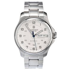 Victorinox Swiss Army Men's 241548.1 Steel Officers Automatic Analog White Dial Watch Victorinox Swiss Army. $630.00. Case diameter: 40 mm. Water-resistant to 100 M (330 feet). Automatic watch. Scratch resistant, triple-coated, anti-reflective sapphire crystal. Automatic Swiss mechanical self-winding movement. Save 28%!