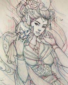 "- David Hoang (@davidhoangtattoo) en Instagram: ""Geisha sketch."""