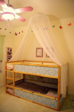 White Ikea Kura Bed for a black and white kids room