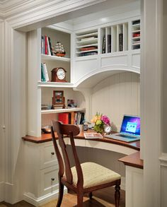 Office Nook Design Ideas, Pictures, Remodel and Decor. You can see that this pocket office used to be a closet~perfect for your tiny home! via Houzz