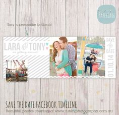 Save the Date Facebook Timeline - Photoshop Template - HW001- INSTANT DOWNLOAD