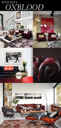 Looking to add a little seasonal flair to your home this fall? Try taking a cue from our favorite fashion designers and adding oxblood to your home accessory rotation. Equal parts masculine and feminine, this color… Living Room Goals, Home Living Room, Home Interior Design, Interior Styling, Family Room Sectional, Eclectic Living Room, Starter Home, Oxblood, Home Decor Inspiration