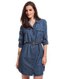 Chemise em Jeans com Cinto                                                                                                                                                                                 Mais