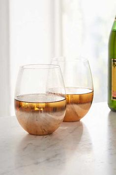 3c725881758 Copper Ombre Stemless Wine Glass – Set of 2 Copper Ombre, Stemless Wine  Glasses,