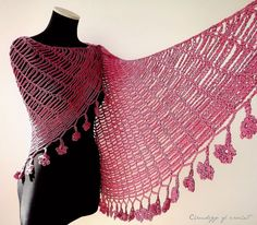 Shawl Triangle Scarf Crochet Handmade 100  by ChronologyOfCrochet,