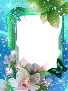 Blue Green Transparent PNG Photo Frame with Flowers