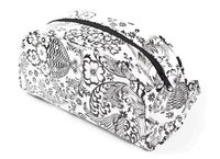 Black and White Toile Oilcloth Cosmetic Bag-large