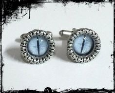 Snow Dragon Cufflinks  OOAK steampunk by FlightsOfFancyOZ on Etsy, $45.00