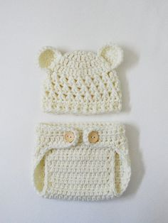 Crocheted Newborn Teddy Bear Baby Hat and Diaper Cover in Soft Cream-  Photo Prop on Etsy, $24.99