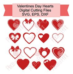 Valentine's Day Hearts svg cut file Vector Graphic by pieceofprint